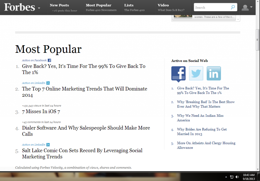 This article rose to #4 Most Popular on Forbes