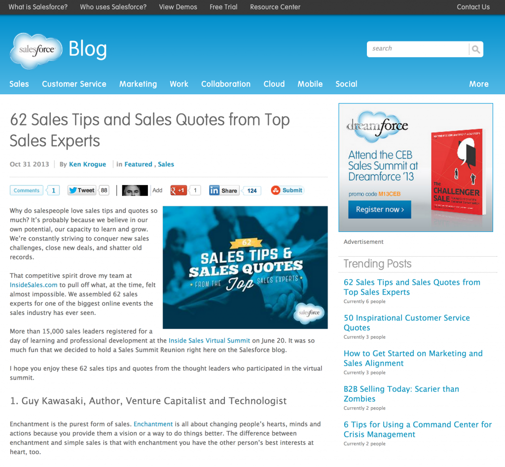 """Ken Krogue's article entitled """"62 Sales Tips and Sales Quotes from Top Sales Experts"""" Trends to Top on Salesforce.com"""